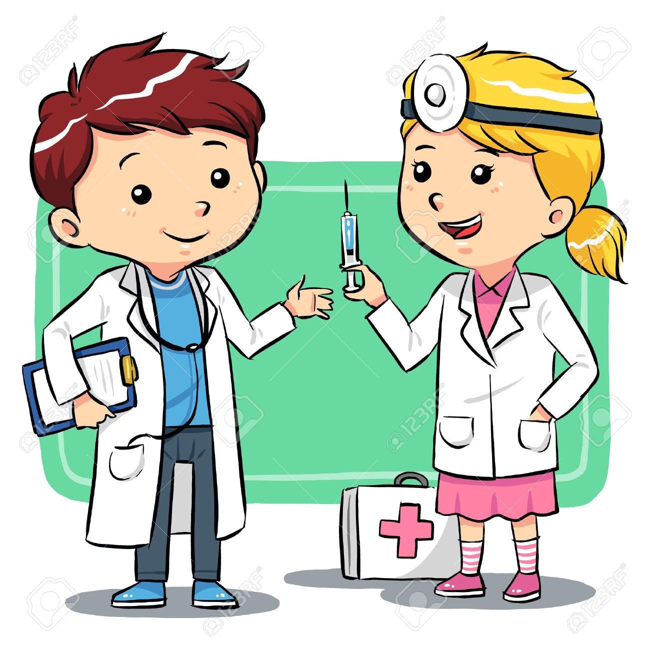 Doctor Kids  Kids playing to be a doctors Stock Vector - 20360756