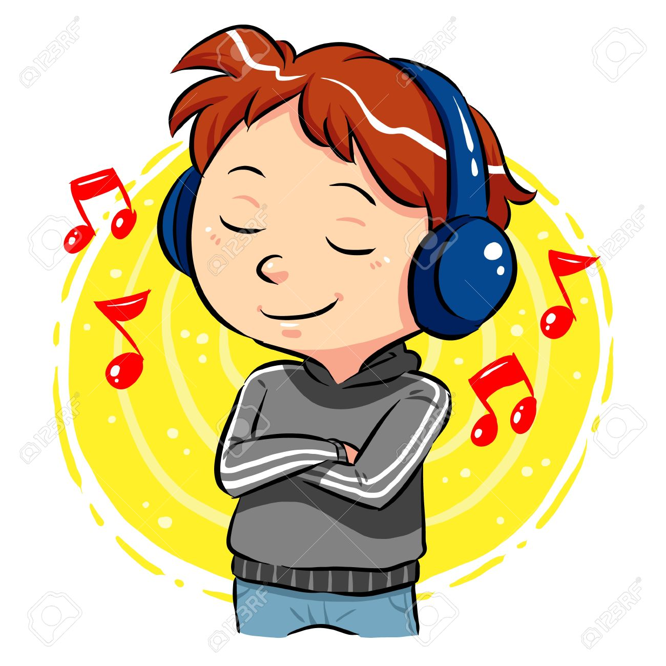 Listening To Music  A boy listening to music with headphones on his head Stock Vector - 20360741