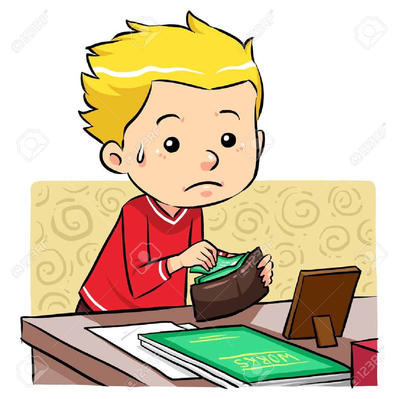 Stealing Money  A boy stealing money in his father wallet Stock Vector - 20360748