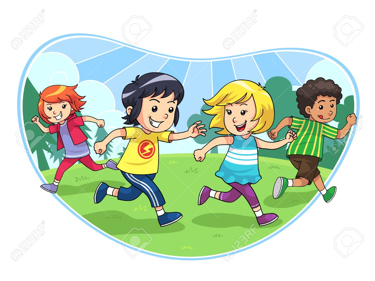 Catch And Run Play A group of children playing catch and run Stock Vector - 22719383