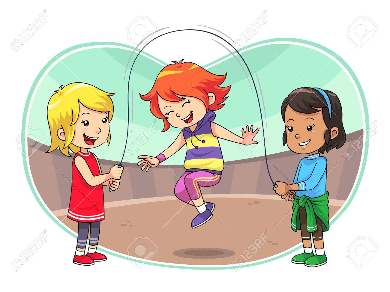 Skipping Jump Play A group of children playing skipping jump Stock Vector - 22719357