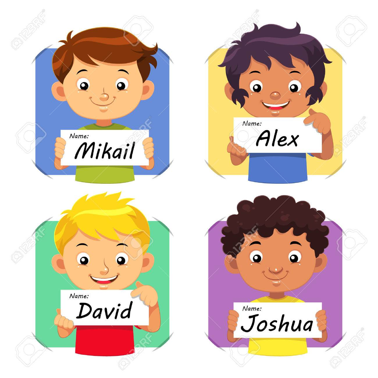 boys name boys holding their name tag royalty free cliparts vectors rh 123rf com names clip art pictures name clipart steve