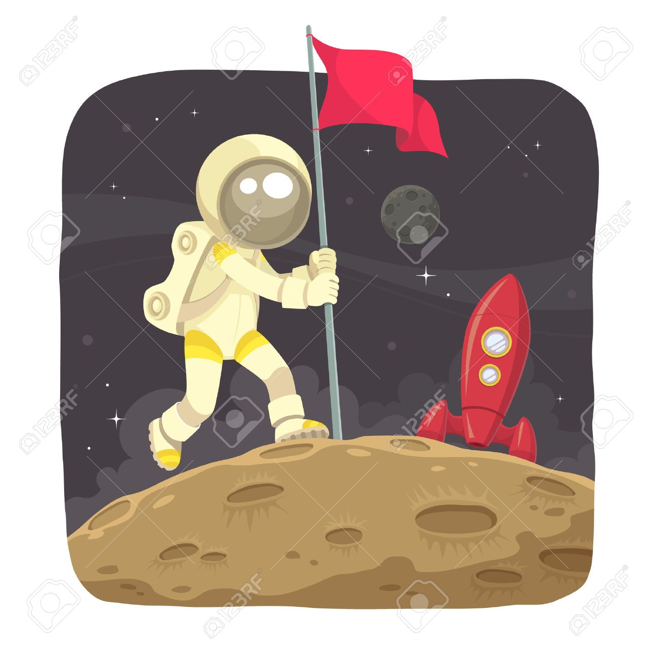 Space Adventurer  Astronaut landing on the moon and give a flag sign Stock Vector - 30683153