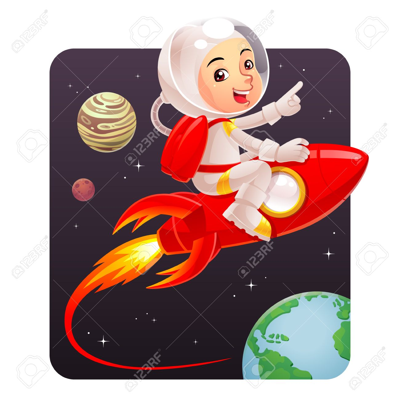 astronaut kid astronaut kid riding red rocket to the space royalty