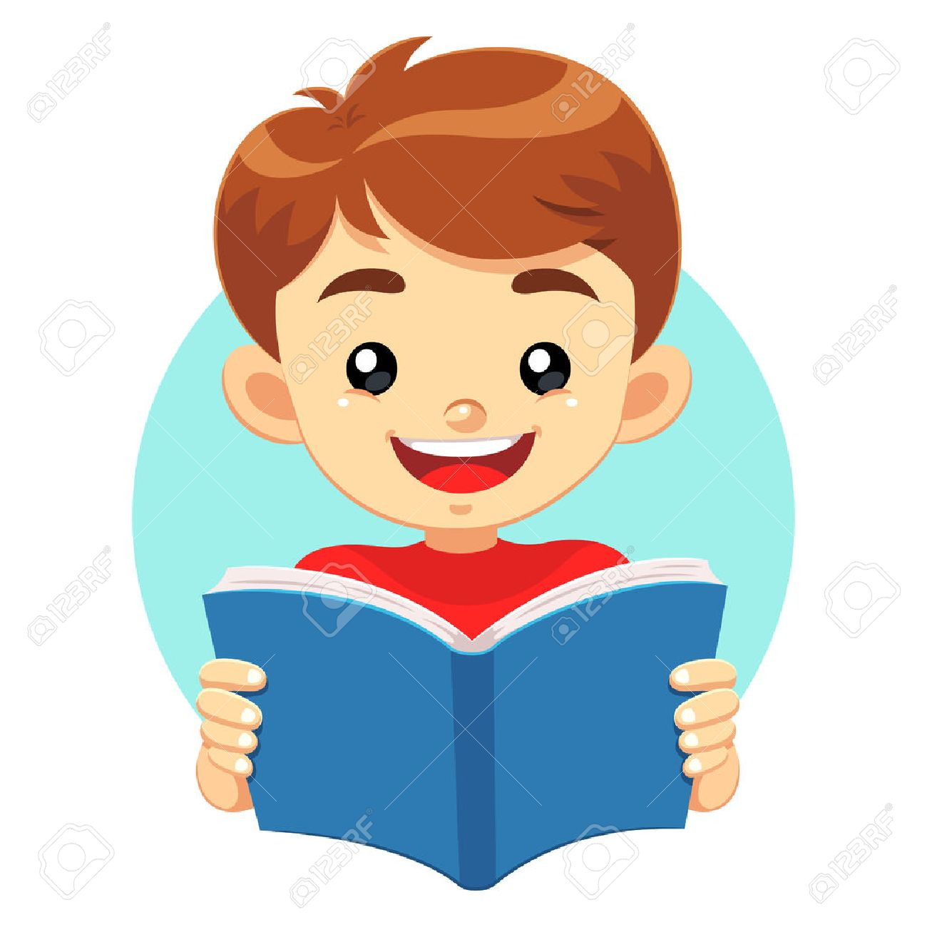 Little Boy Reading A Blue Book. A little cute boy reading a blue book with happy face. He like to read and study educational books. Stock Vector - 39495461