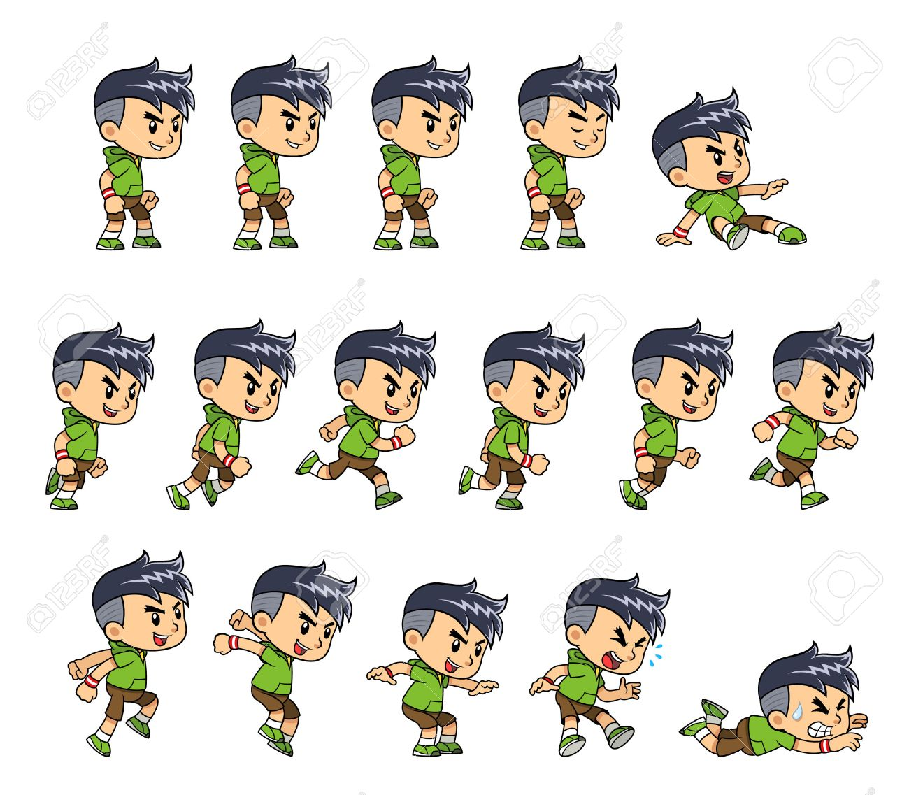 Sporty Boy game sprites for side scrolling action adventure endless