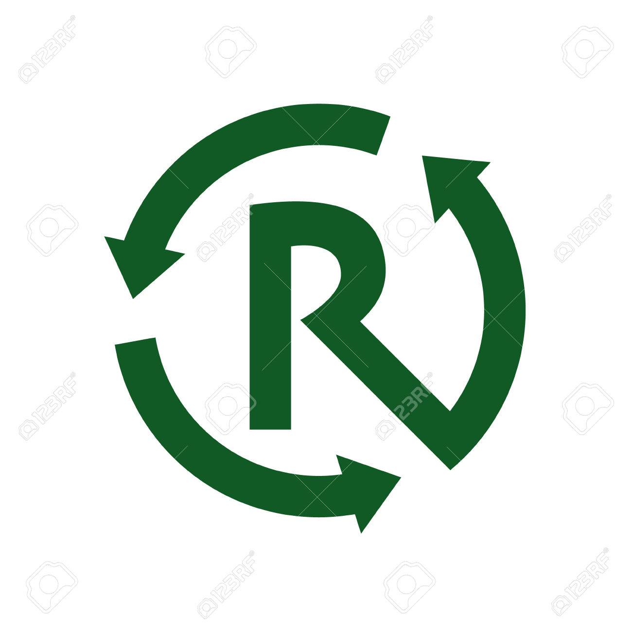 Recycle Letter R Sign And Symbol Vector Royalty Free Cliparts