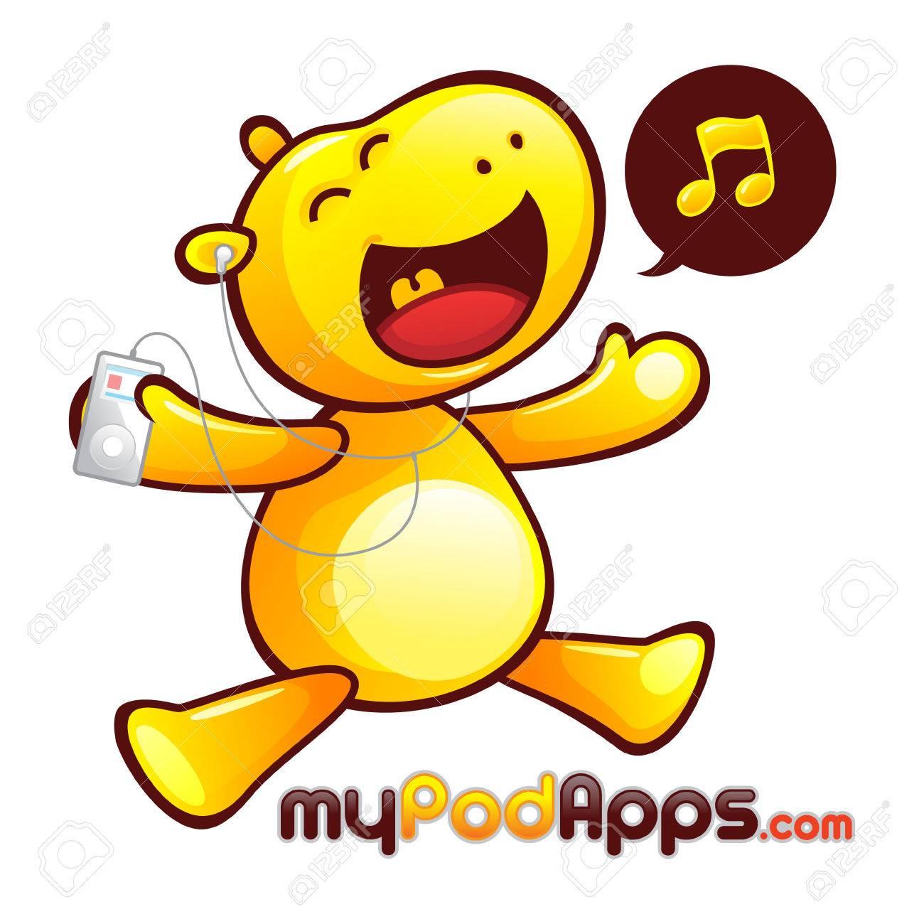 Yellow Hippopotamus Mascot Character. Happy hippo listening to music player. Stock Vector - 69207094