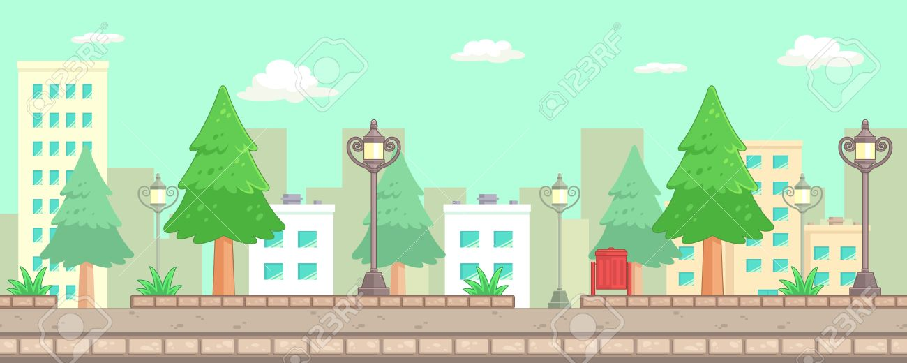 City Park Scenes Game Background. Suitable for side scrolling, action, and adventure game. Stock Vector - 67810050
