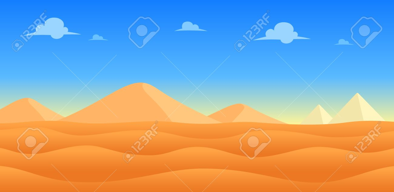Desert Day Game Background. Suitable for side scrolling, action, and adventure game. Stock Vector - 67810054