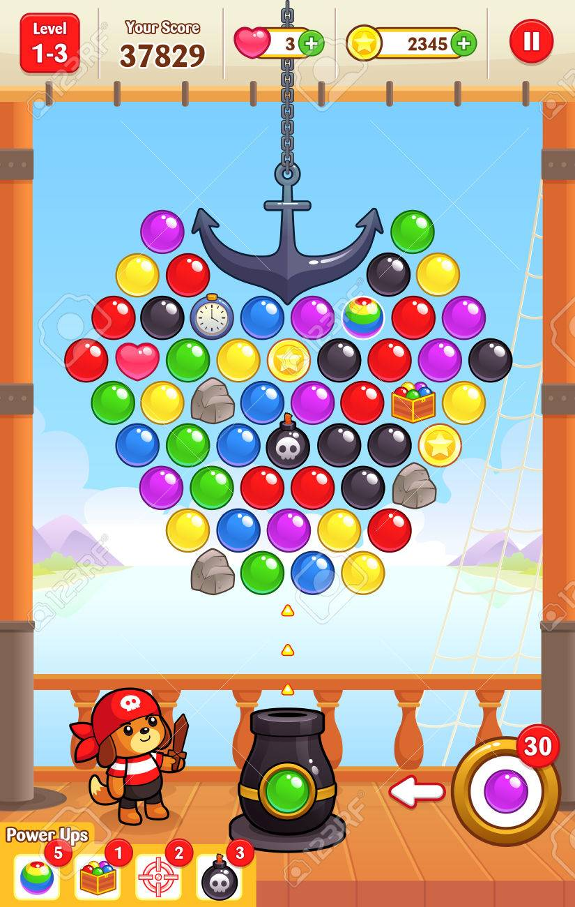Cannon Ball Shooter game assets for 2D bubble shooter puzzle