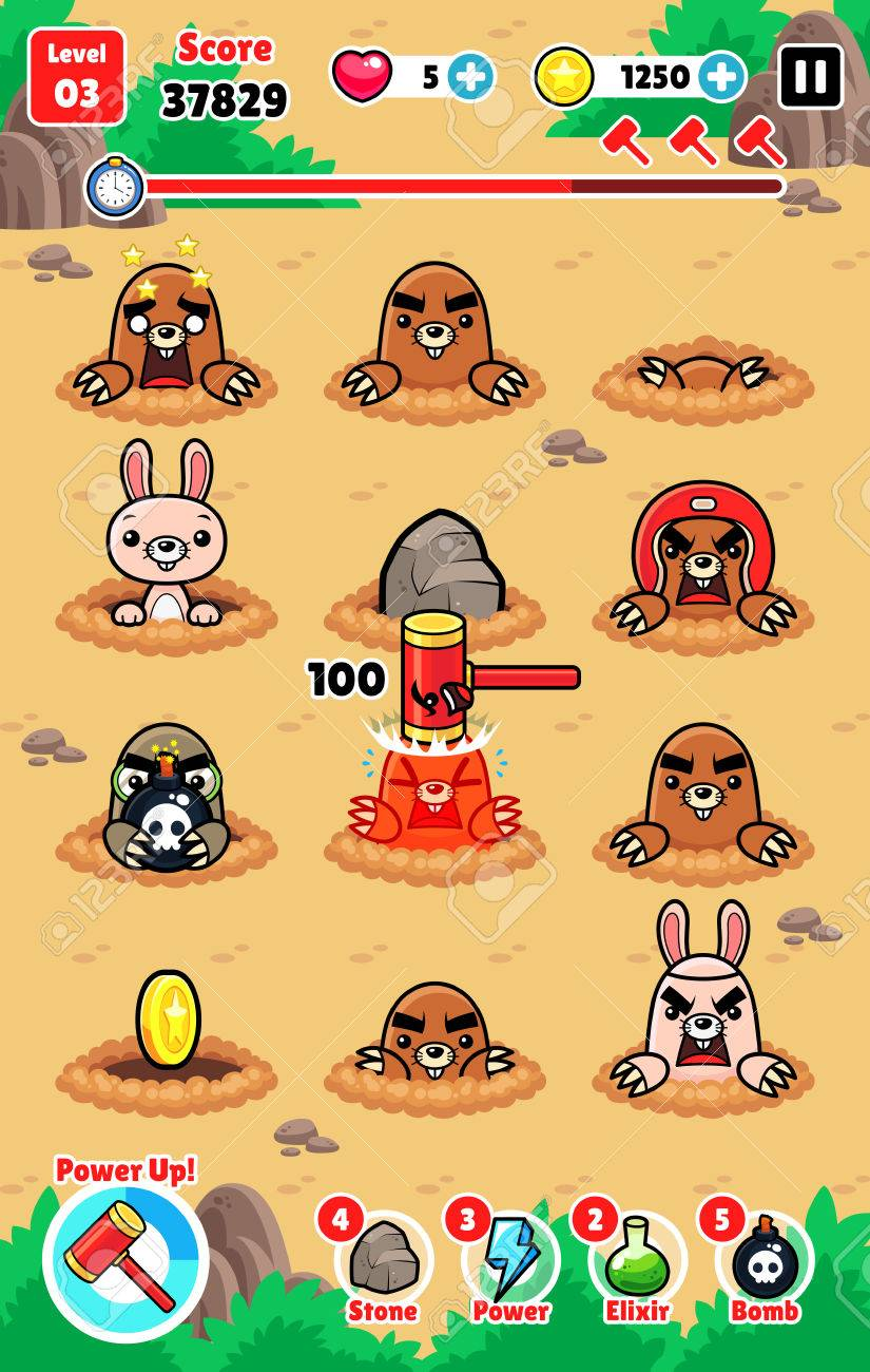 Moles Attack game assets for 2D whack a mole smash and hit action fun game. Stock Vector - 66515410