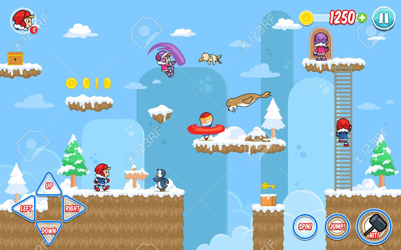 Ice Ventura game assets for 2D platform, jumping, and hack and