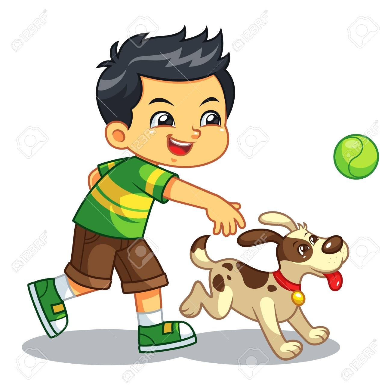 Boy Playing With His Pet Dog. - 110151639