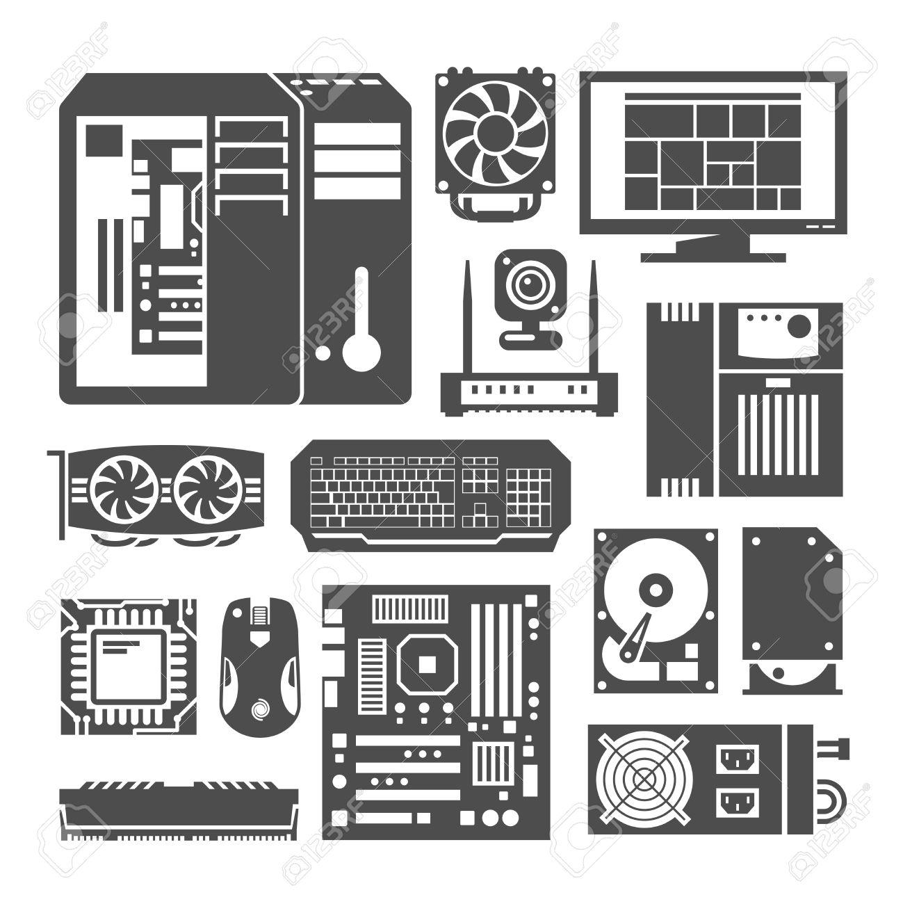 Einfache Schwarze Symbole Gesetzt. PC-Komponenten. Computergeschäft ...