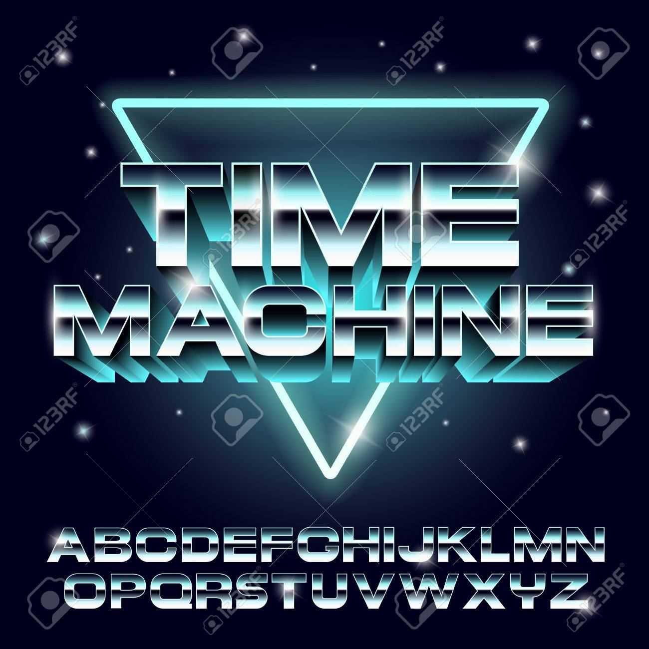 Retro font in the style of the 80s  metal font  vector illustration