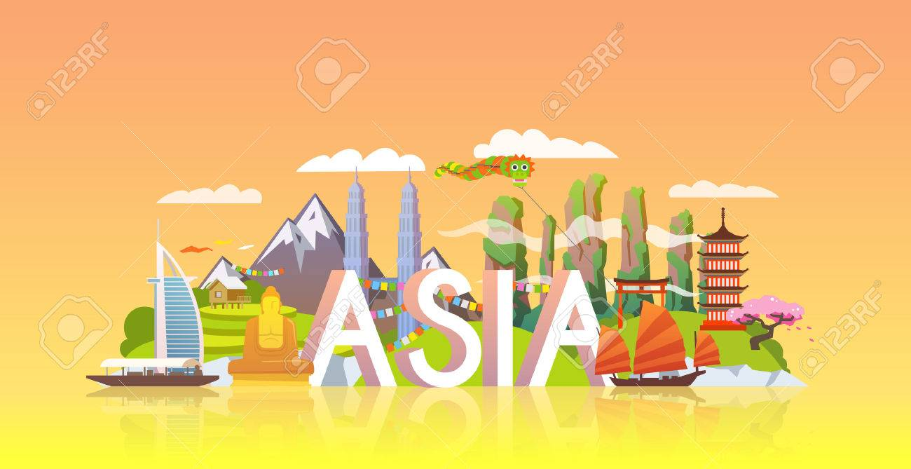 Vector banner on themes: trip to Asia, sights Asia, vacations in Asia, summer adventure. Modern flat style. - 49815938