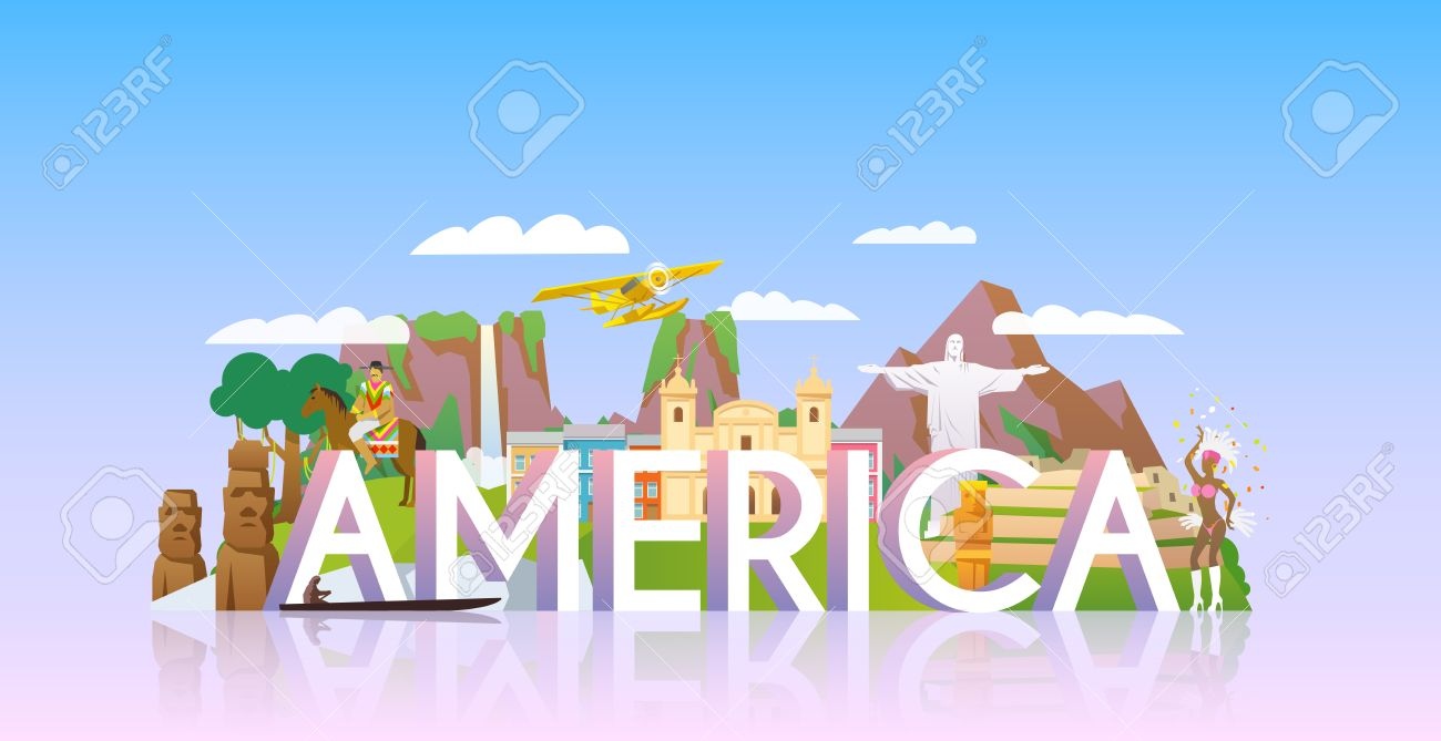 Vector Banner On Themes Trip To South America Sights South - South america vacations