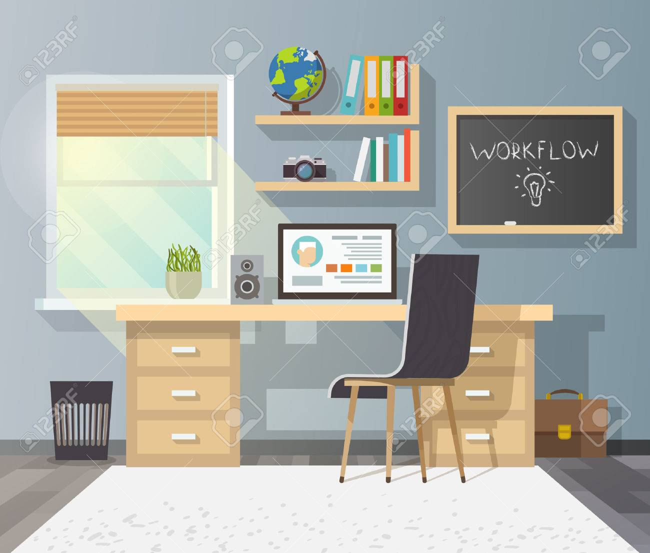 Workplace in sunny room. Stylish and modern interior.Quality design illustration, elements and concept. Flat style.2 - 50303892