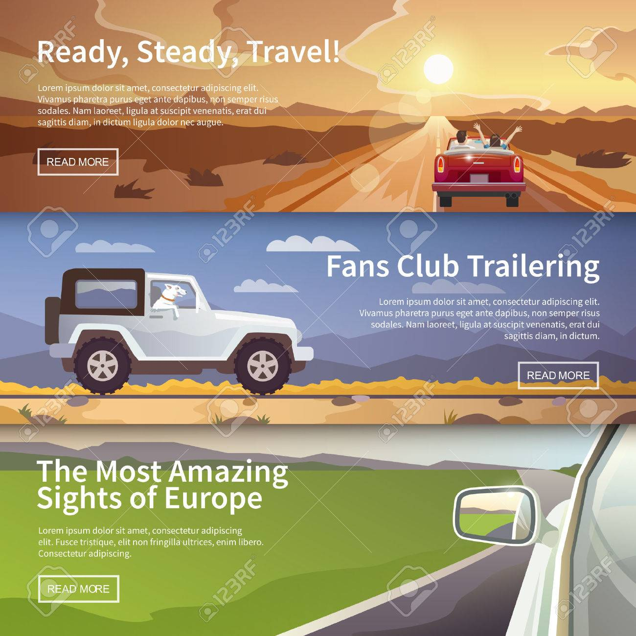 Colourful vector flat banner set for your business, web sites etc. Quality design illustrations, elements and concept. Journey by car. Fans club trailering. Trip to Europe. - 50303902