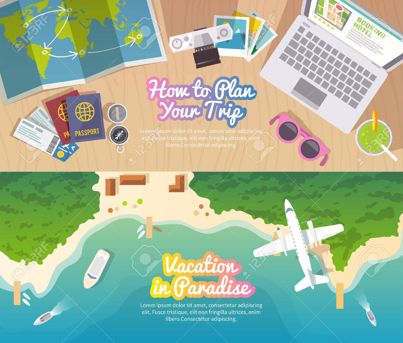 Colourful travel vector flat banner set for your business, web sites etc. Quality design illustrations, elements and concept. Trip plan. Vacation in Paradise. Top view. - 50303894