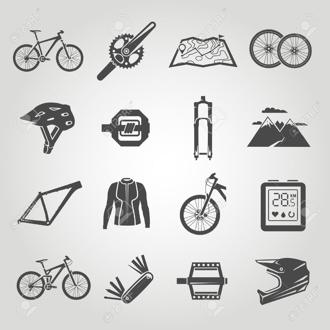 Simple black icons set. Mountain bike. Set 4 - 50304055