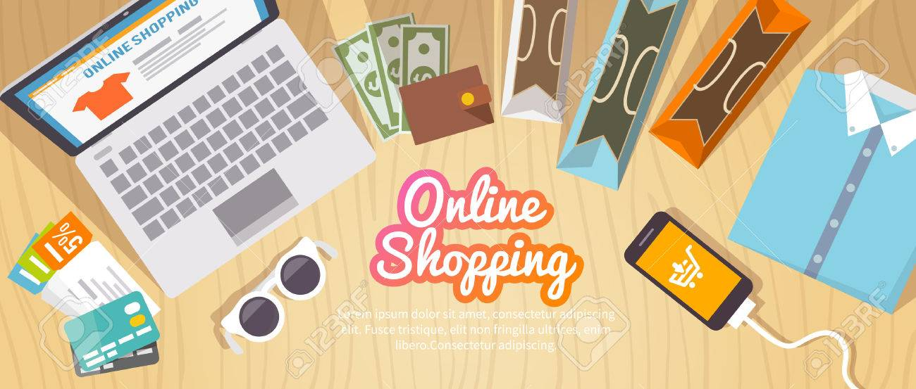 Colourful shopping vector flat banner for your business, web sites etc. Quality design illustrations, elements and concept. Online shopping. Buy online. Delivery. - 50304057