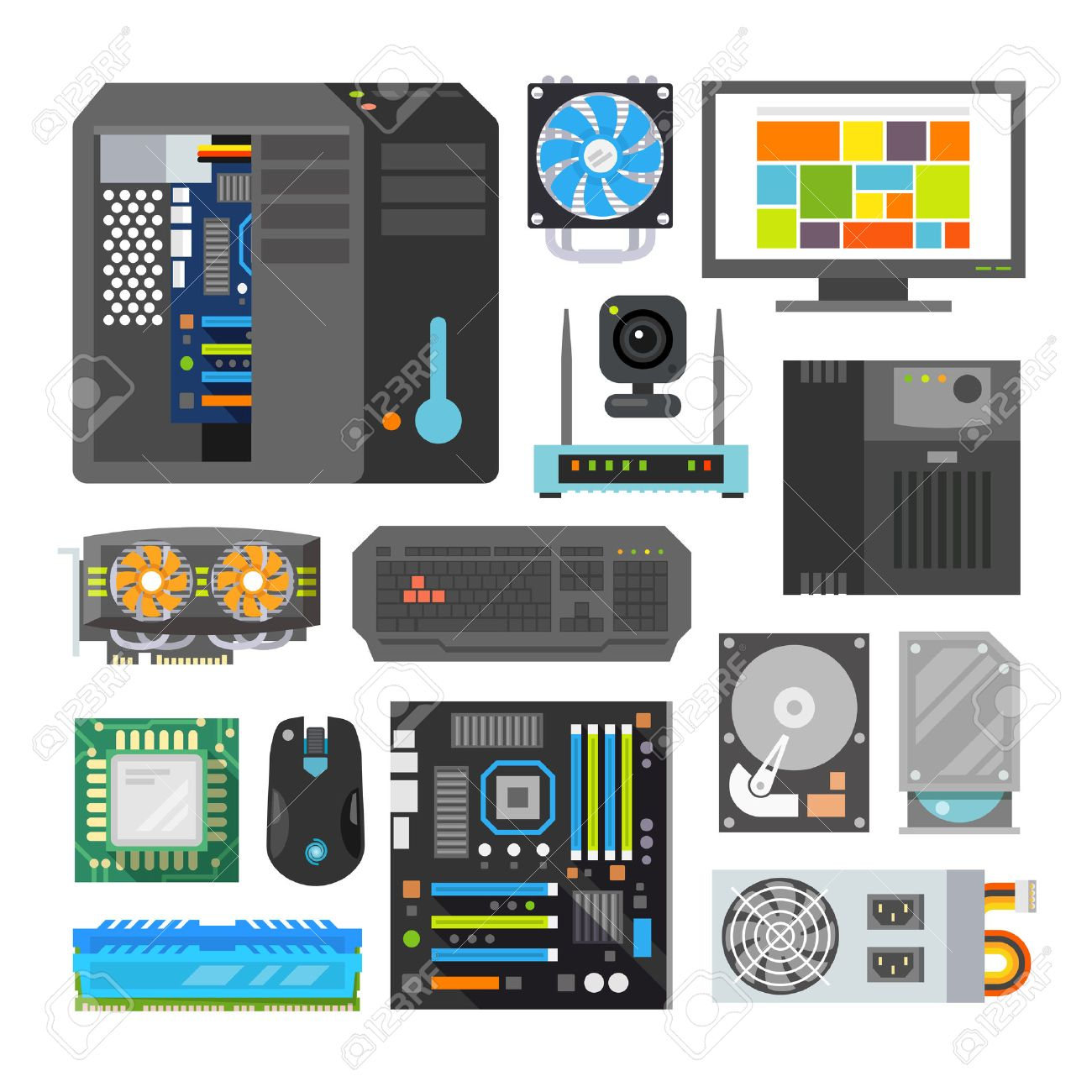 Modern flat icons set. PC components. Computer store. Assembling a Desktop Computer. - 50304087