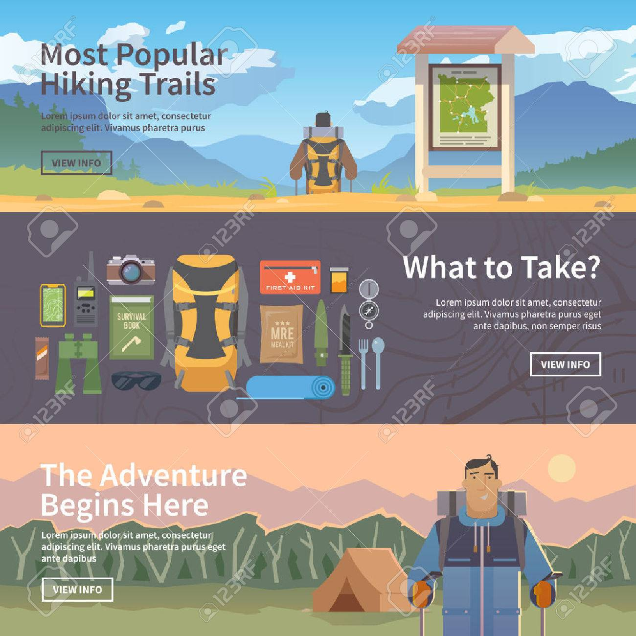 Set of flat vector web banners on the theme of Climbing, Trekking, Hiking, Walking. Sports, outdoor recreation, adventures in nature, vacation. Modern flat design. - 50592450