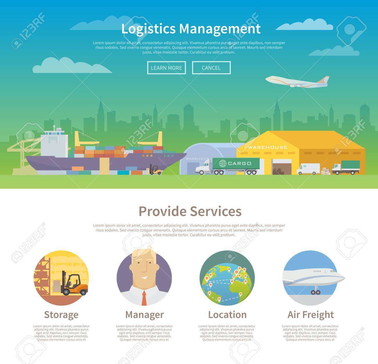 One page web design template on the theme of Logistics, Warehouse,