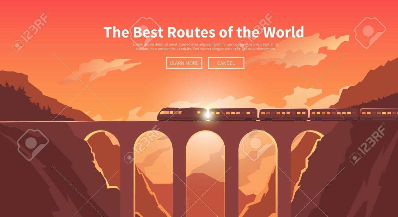 Flat vector web banner on the theme of travel by train, high speed train, vacation, mountain landscape, railway, adventure. Sunset sky. The bridge, mountain railway. Stylish modern flat design. - 50592476