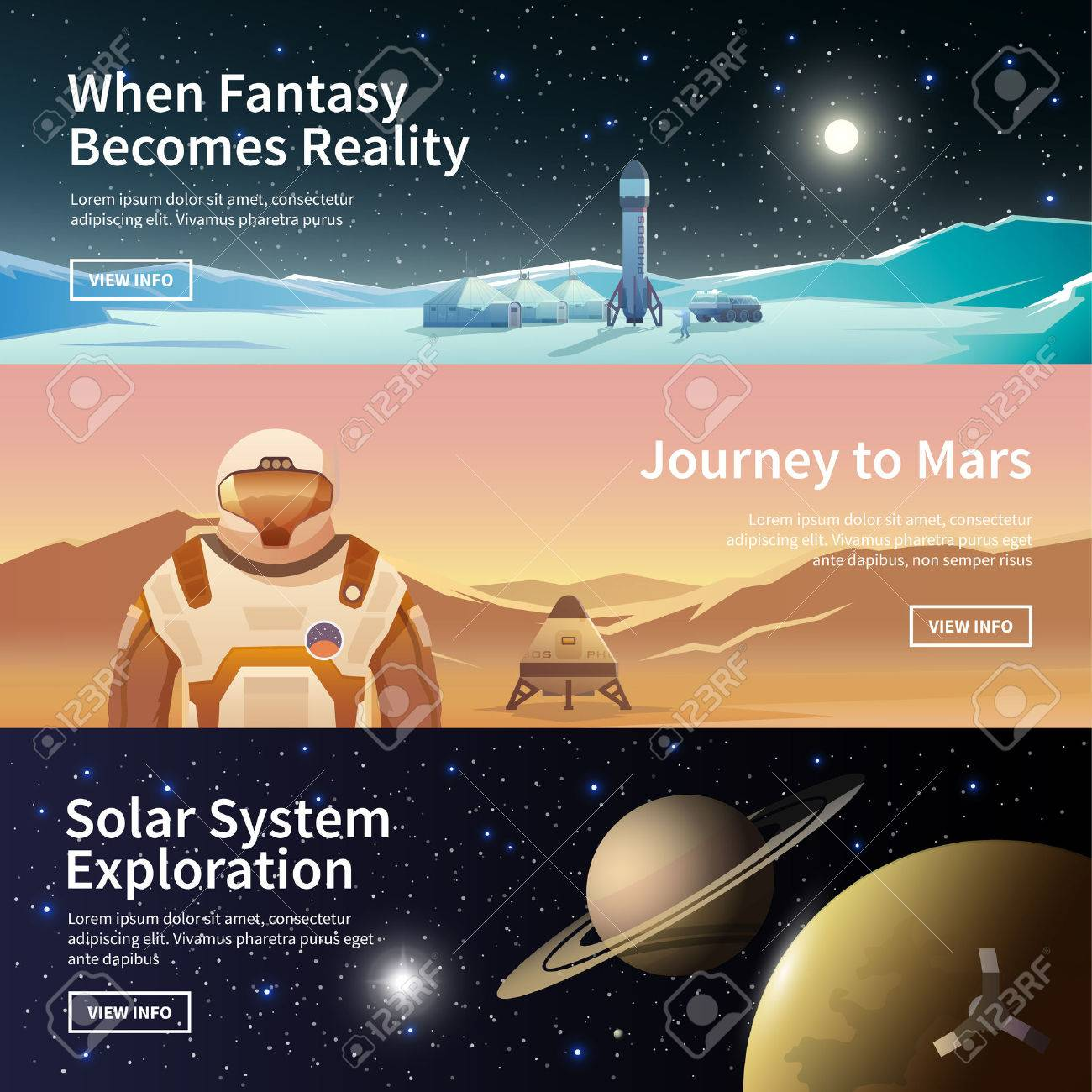 Fat vector web banners on the theme of astronomy, space exploration, colonization of space. Solar System exploration. The first colonies. Modern flat design. - 54576495
