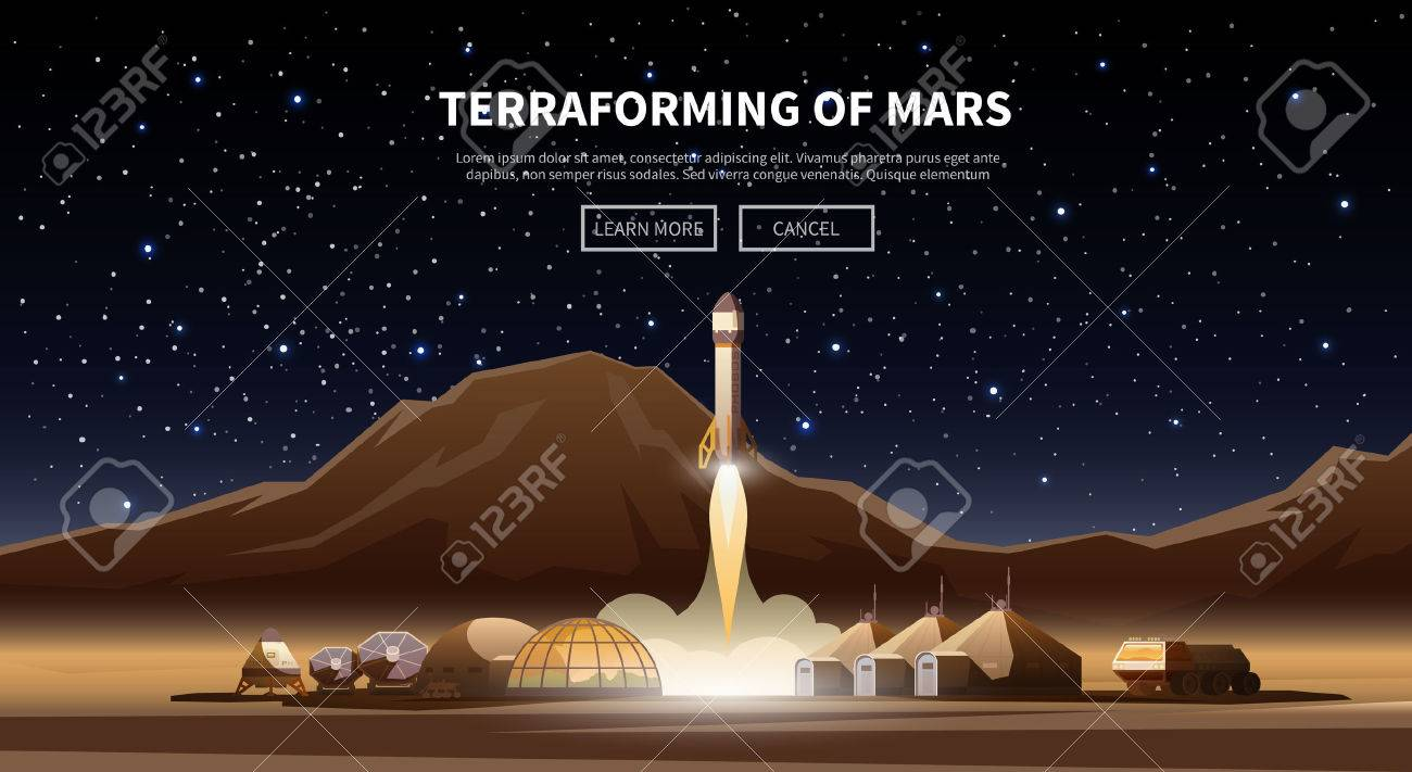 Fat vector web banner on the theme of astronomy, space exploration, colonization of Mars. Space adventure. The first colonies. Terraforming. Modern flat design. - 54576500