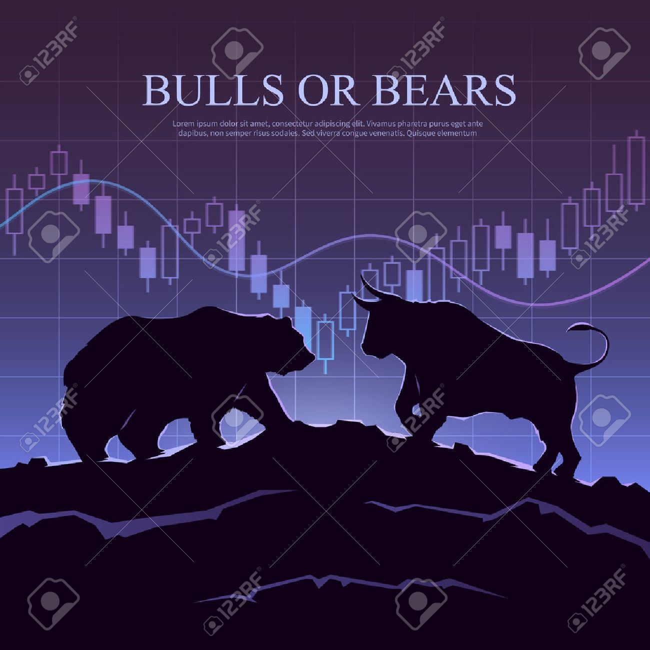 Stock exchange trading banner. The bulls and bears struggle: what type of investor will you be. Stock market concept illustration. Modern flat design. - 54576584