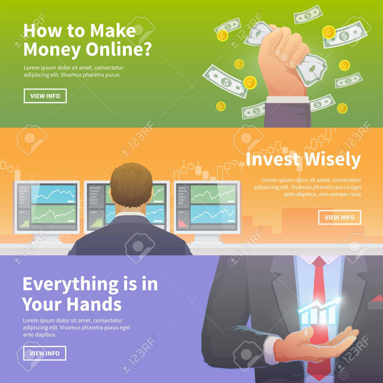 Multicolor Stock Exchange Trading Set Of Web Banners Equity Market World  Economy Major Trends Multicolor Stock