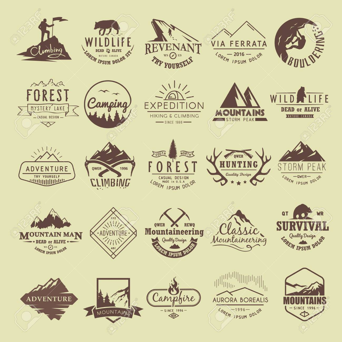 Set of vintage labels on the theme of Climbing, Trekking, Hiking, Mountaineering, Hunting. Extreme sports, outdoor recreation, adventure in the mountains, vacation. Achievement. - 54576736