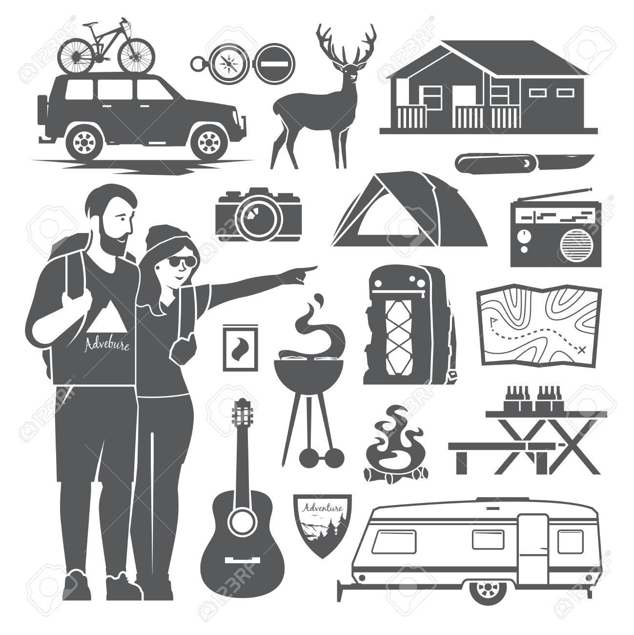 Vector Black And White Icons On The Theme Of Climbing, Trekking, Hiking,  Walking