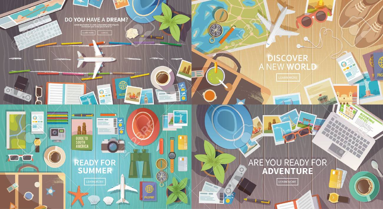 Flat vector web banners set on the theme of travel , vacation, adventure. Preparing for your journey. Outfit of modern traveler. Objects on wooden background. Top view. Ready for Summer. 1 - 60724371