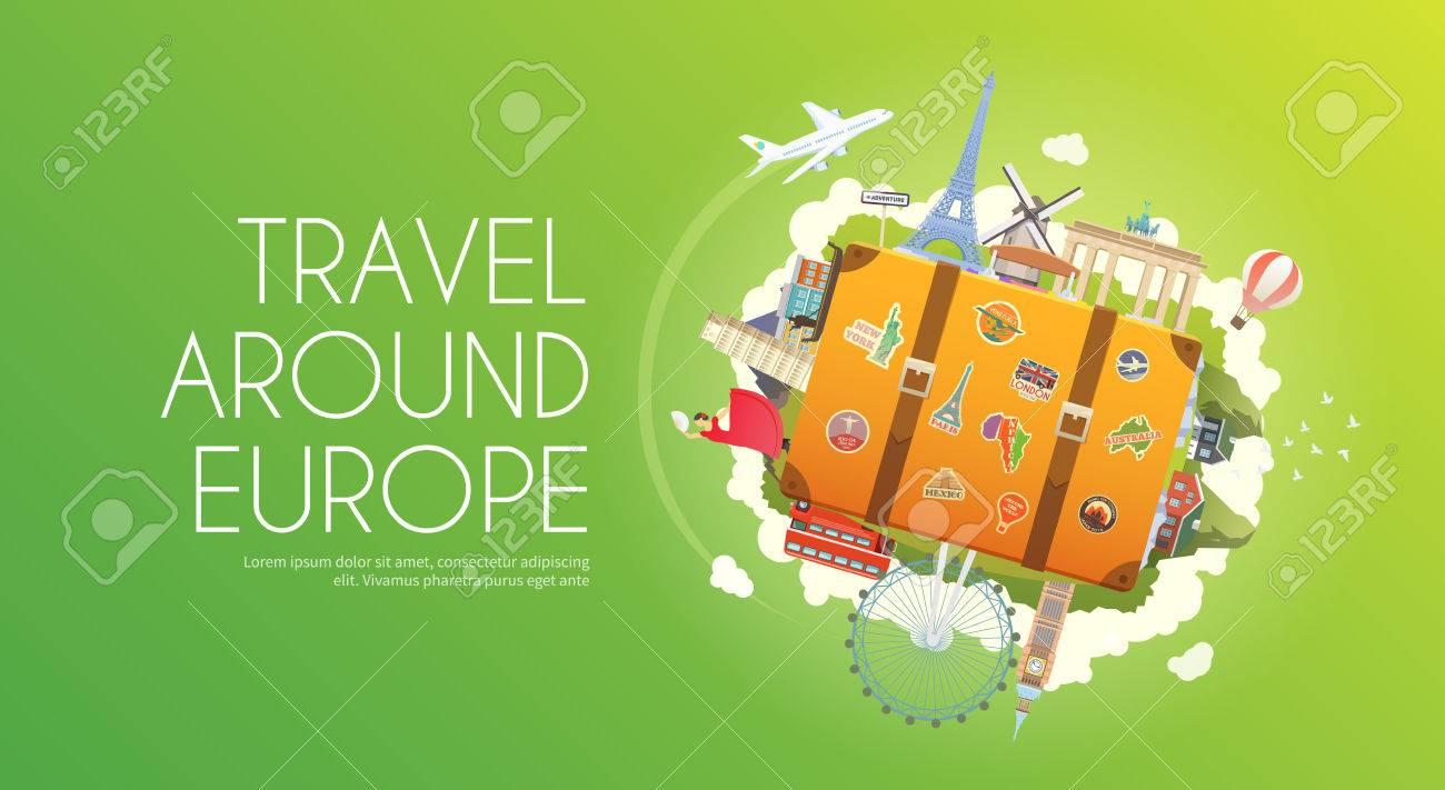 Travel to Europe. Road trip. Tourism. Suitcase with landmarks. Tourism. Web advertising banner. Wanderlust. Landmarks in Europe. Cruise tour. Travelling illustration. Modern flat design Travel vector - 60724388