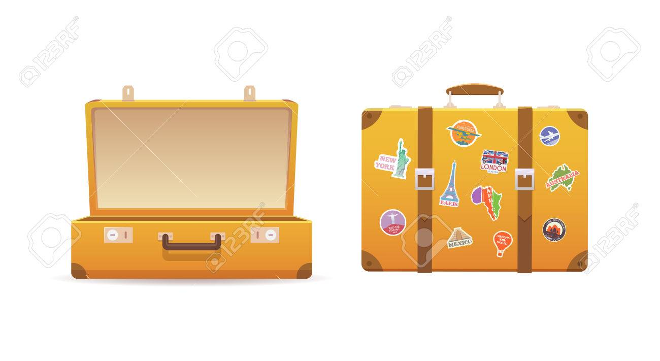 Open and close old suitcase on white isolated background. Luggage of the traveler. Flat vector illustration. - 60724403