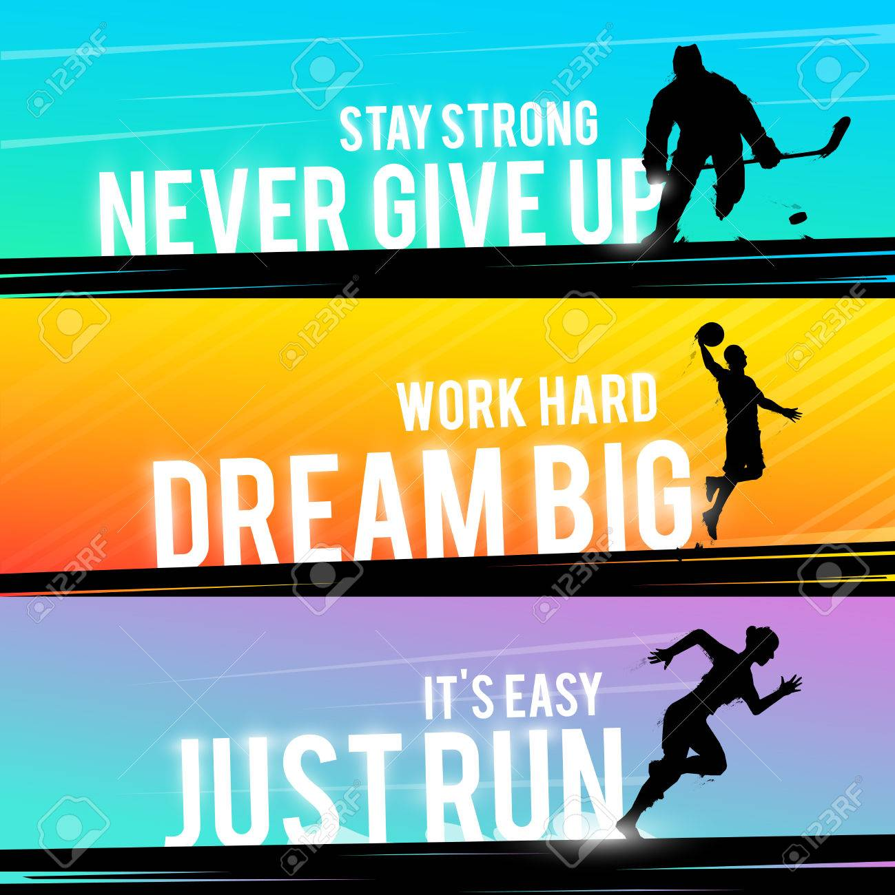 Vector Sports Web Banner Motivational Concept The Silhouette
