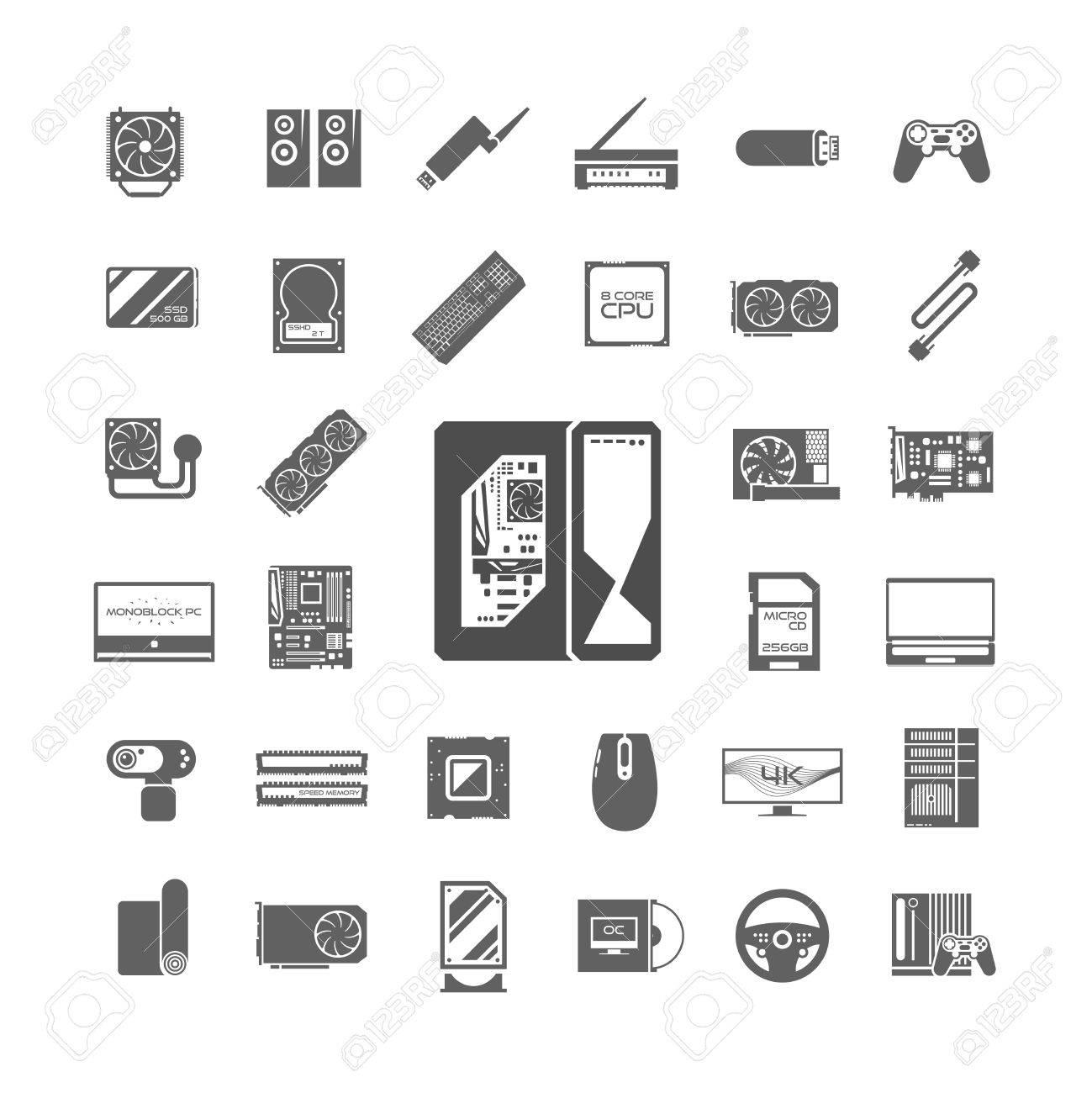 Schwarze Anzeige Weiße Symbole Gesetzt. PC-Komponenten ...