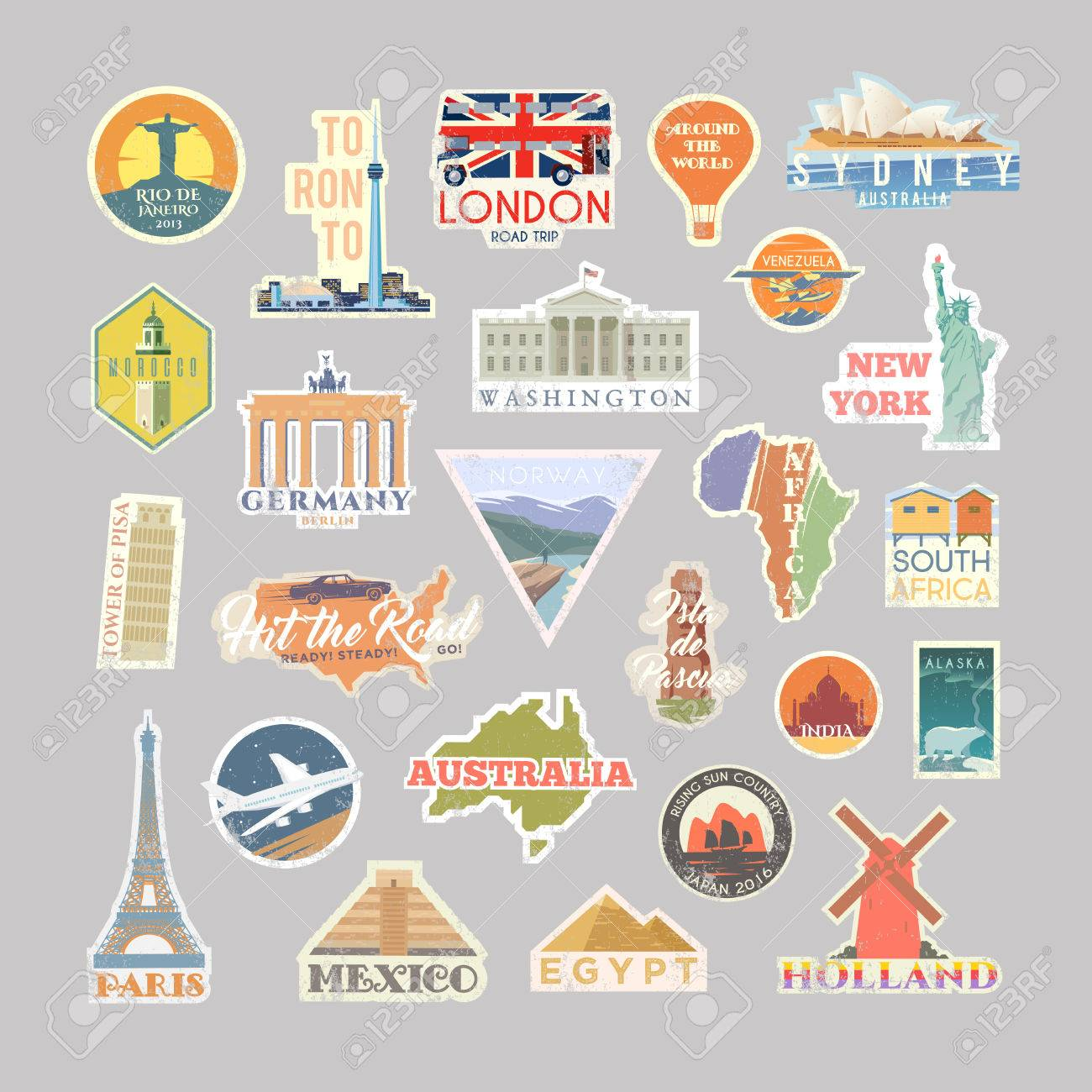 Collection of vector stickers with famous monuments and landmarks travel vector logo set retro