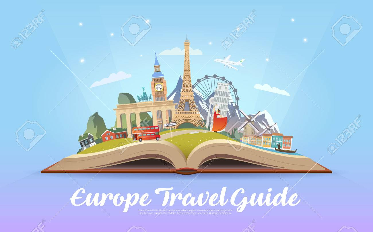 travel to europe. road trip. tourism. open book with landmarks