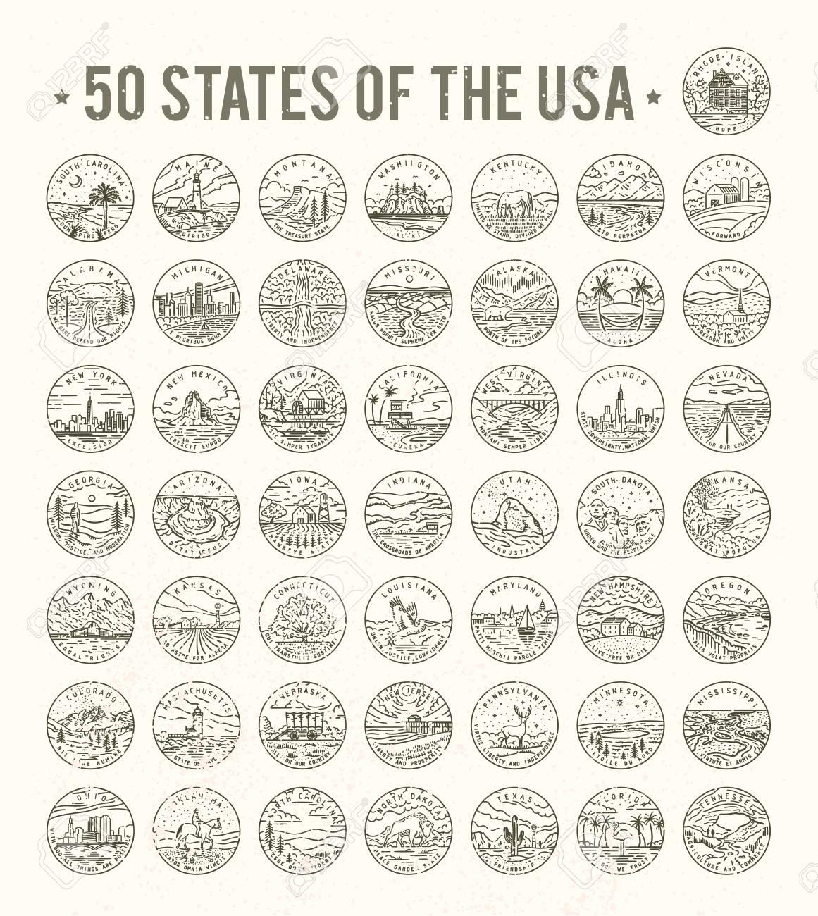 50 Staaten Der Usa Auf Weissem Hintergrund Vektorillustration
