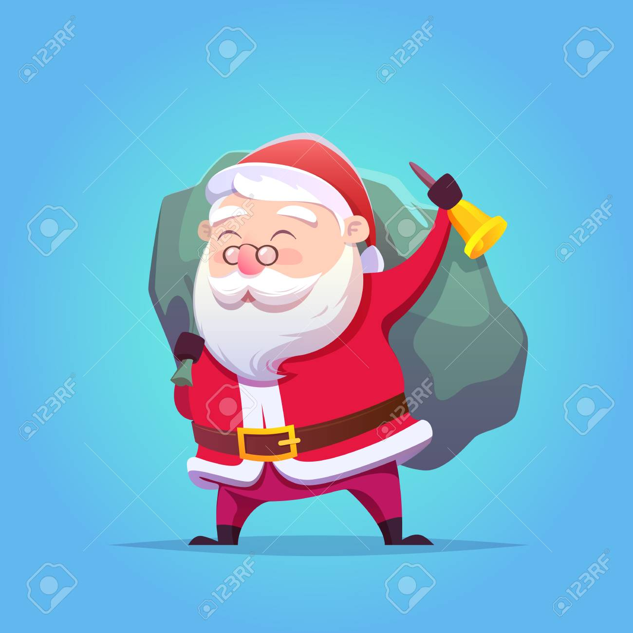 Cartoon Santa Claus. Vector illustration. Merry Christmas and Happy New Year. Postcard. - 127497900