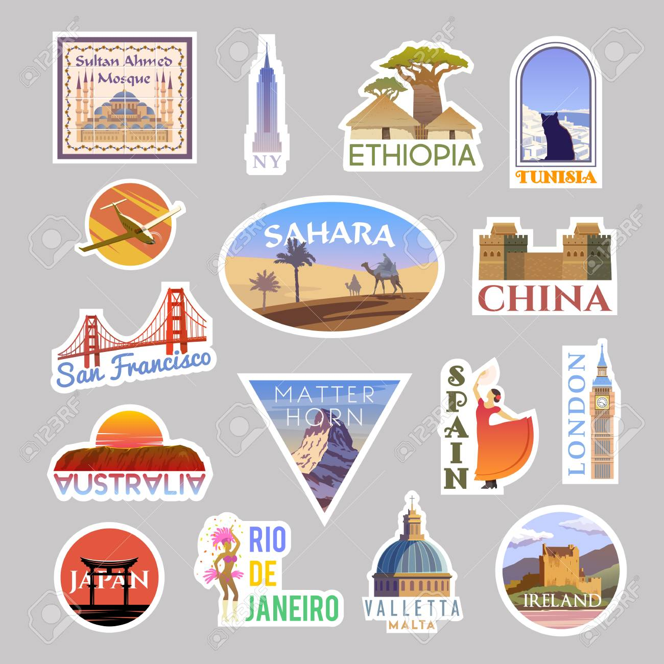 Set of vector travelling stickers colliction. Around the world - 118831255