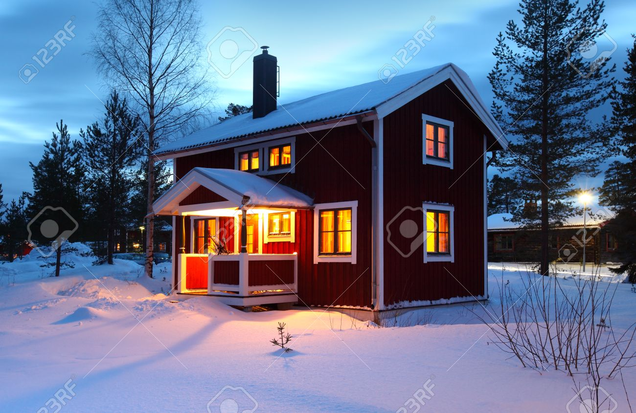 Wooden house wooden house in sweden during winter by night editorial