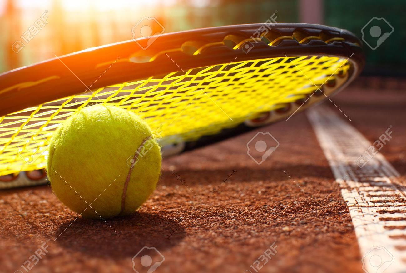 tennis ball on a tennis court - 37098946
