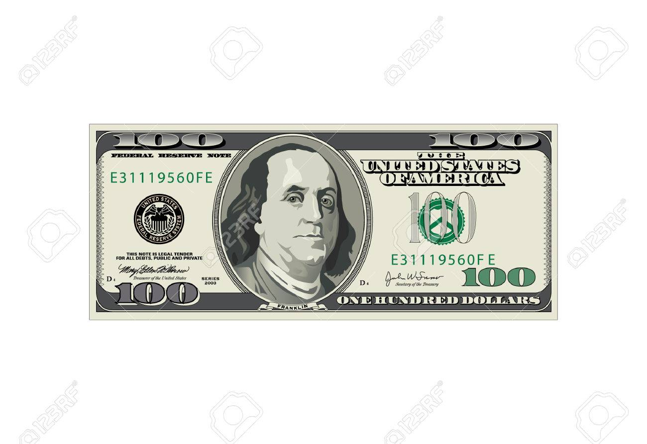 A detailed vector drawing of a one hundred dollar bill - 4020335